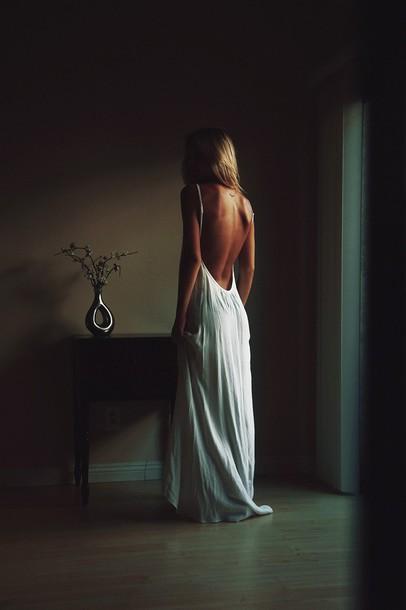 dress white dress long dress classy dress naked back flowy dress