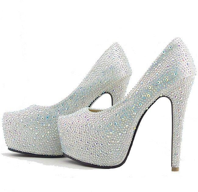 Silver Wedding Bridal Shoes Glitter Diamonds Platform Prom Party High Heels | eBay