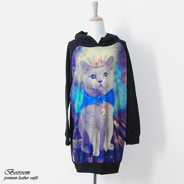 sweatshirt pullover cat shirt cats oversized galaxy print cats