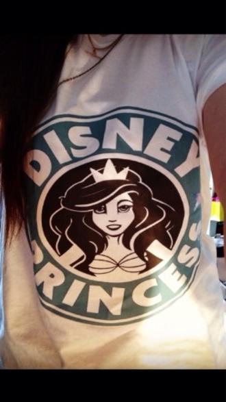 shirt the little mermaid mermaid disney disney princess starbucks coffee t-shirt white starbucks mermaid