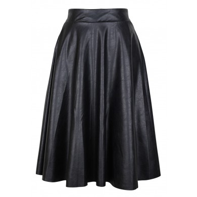 Pleated in Nature PU Leather Midi Skirt