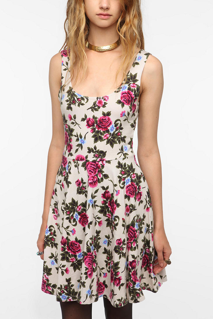 Sparkle & Fade Knit Printed Skater Dress - Urban Outfitters