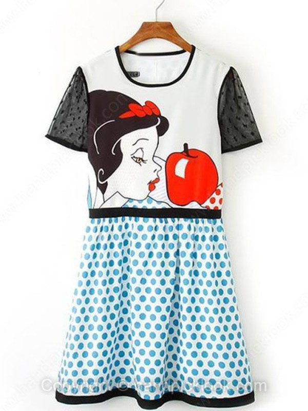 dress snow white print dress preppy cute polka dots polka dot skirt