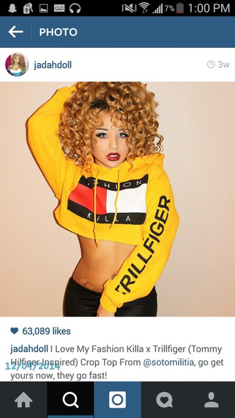 sweater tommy hilfiger crop top yellow top jada doll