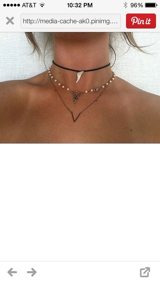 jewels necklace sharktooth middle beaded cute hipster boho tumblr