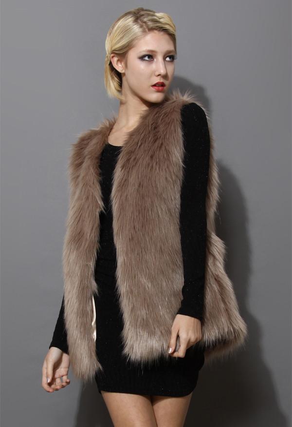 coat mid-length brown faux fur vest