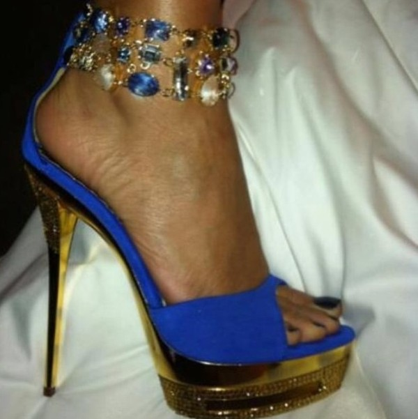 shoes high heels blue diamonds gold