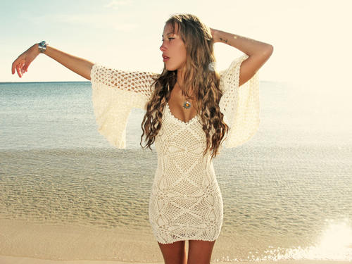 emmaoclothing - Handmade crochet loose sleeve dress BEIGE