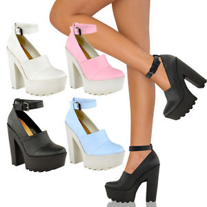Women Cleated Sole Chunky Platform Goth High Heel Ankle Boots Shoes Size   eBay