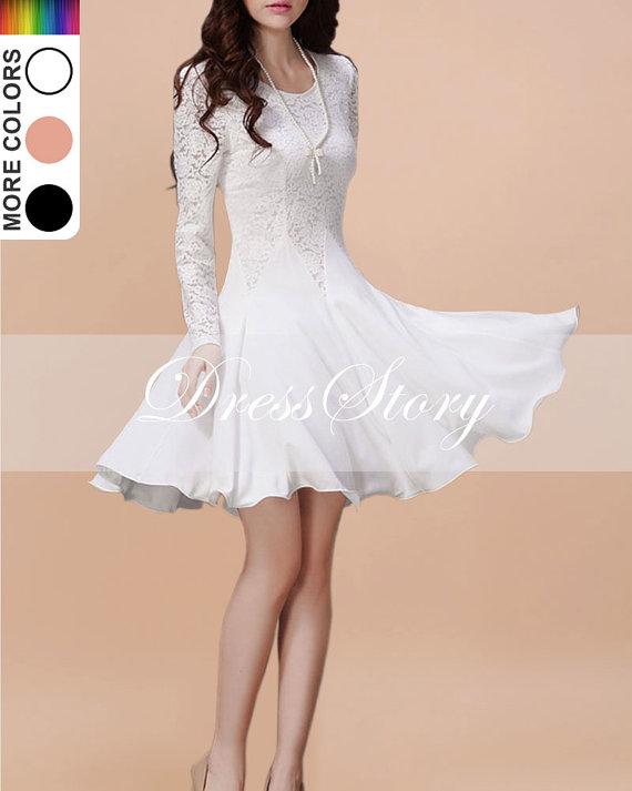 Long Sleeved White Lace Chiffon Dress / Little White by DressStory