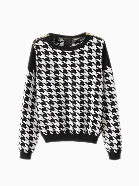 Houndstooth Crew Neck Knit Top With Zipper Shoulders | Choies