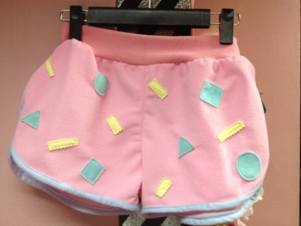 shorts 90s style 80s style pastel