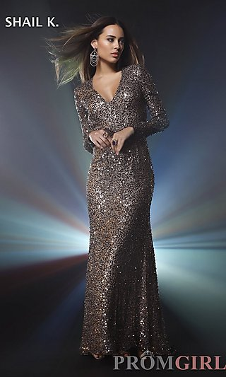 Prom Dresses, Celebrity Dresses, Sexy Evening Gowns - PromGirl: Long Sleeve V-Neck Sequin Formal Gown