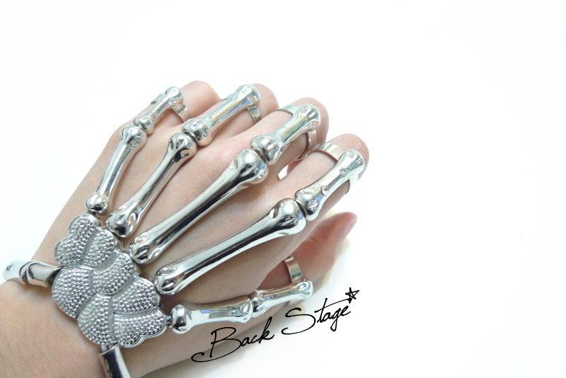 Skeleton Hand Ring Bracelet Cuff | Back Stage*