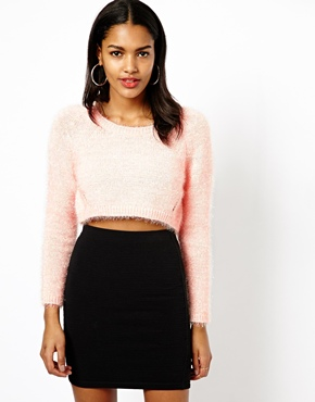 River Island | River Island Cropped Fluffy Sweater at ASOS