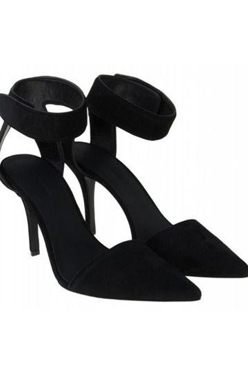 Black Suede Thin Heeled Heels - Size Bigger by One Unit [is00118] - PersunMall.com