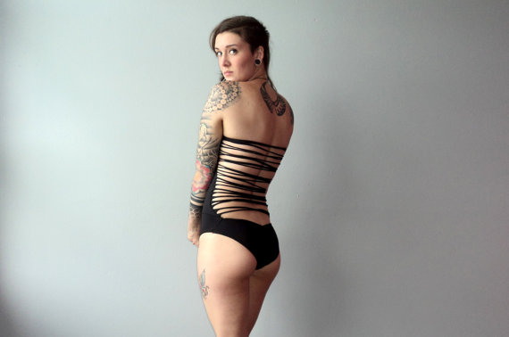 Custom Strapless Shredded Strappy Back OnePiece by origamicustoms
