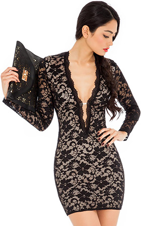 Plunge Neck Lace Dress