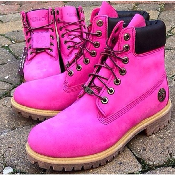 shoes timberland bc breast cancer boots style cancer awareness fluo neon pink neon DrMartens