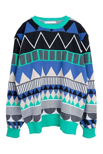 Green Long Sleeve Geometric Print Pullovers Sweater - Sheinside.com