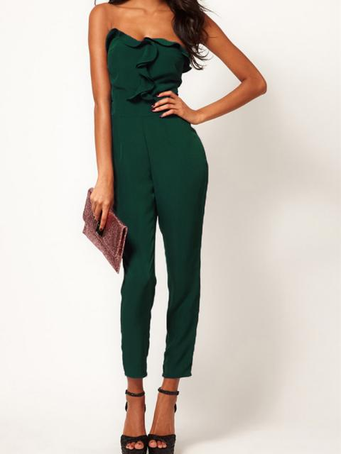 Green Strapless Jumpsuits With Drape Bust | Choies