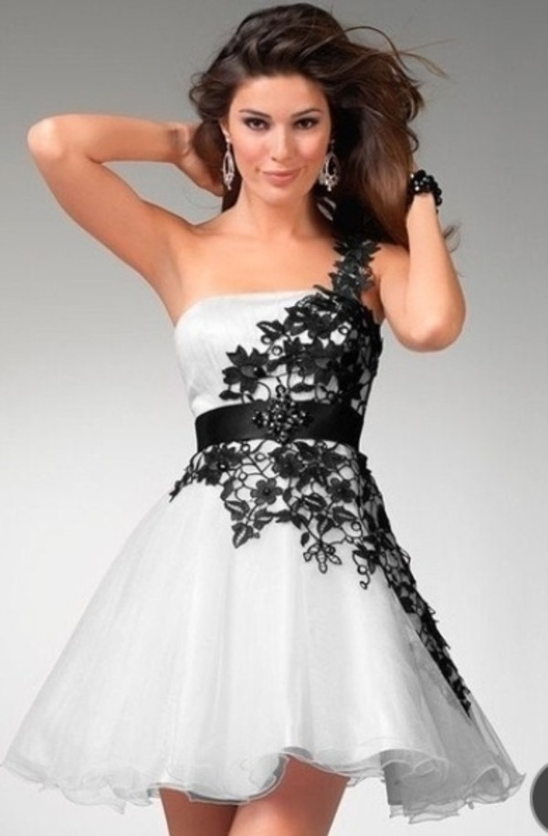 dress prom dress homecoming black and white floral details