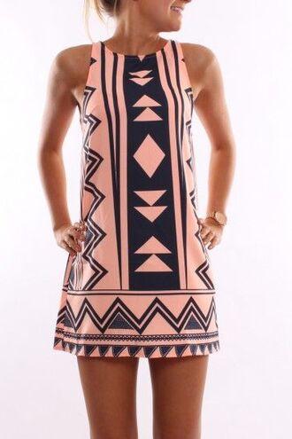 pink navy pink dress summer dress hot pink dress dress native print tribal pattern