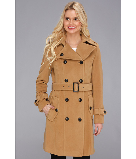 Cole Haan Wool Plush Double-Breasted Trench Camel - Zappos.com Free Shipping BOTH Ways