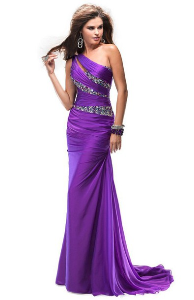 dress purple dress one shoulder