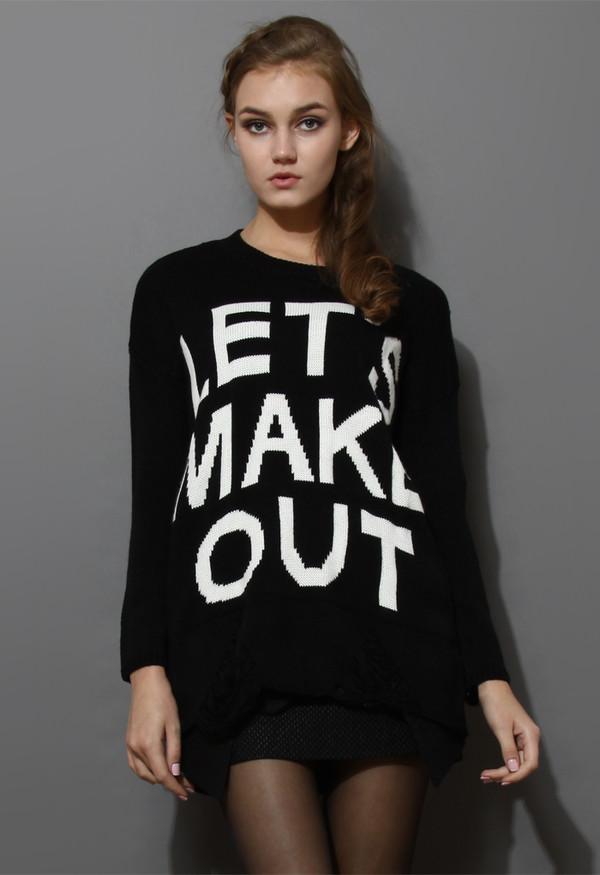 sweater make out shredded black