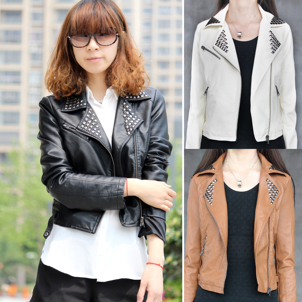 Womens Rivet Outwear Coat Tops Leather Motorcycle Biker Jacket LX01H610Z | eBay