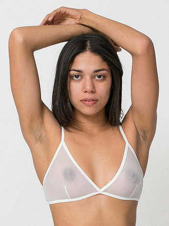 Nylon Spandex Micro-Mesh Triangle Cross-Back Bra | American Apparel