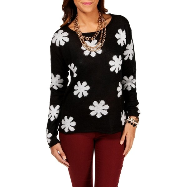 Black/Ivory Daisy Sweater - Polyvore