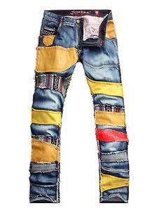 Joneaa Designer Men's Straight Color Band Rocker Funky Style Destroy Wash Jeans | eBay