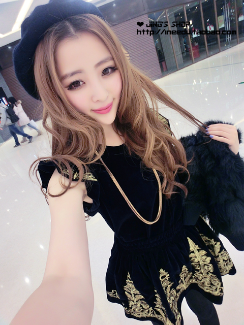 2014 autumn vintage royal wind gold thread embroidery flannelet baroque high waist sheds one piece dress twinset women's ZY0223-inDresses from Apparel & Accessories on Aliexpress.com
