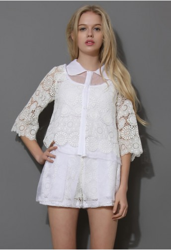 Grace White Lace Crochet Top and Shorts Set  - Retro, Indie and Unique Fashion