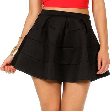 Black A-Line Skater Skirt on Wanelo