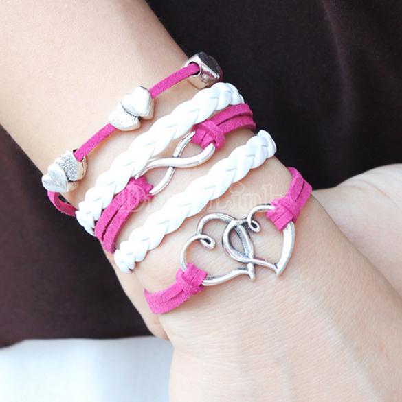 Alloy Anchor Rudder Leather Friendship Love Couple Charm Bracelet