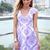 Purple Party Dress - Purple Foil Print Cap Sleeve | UsTrendy