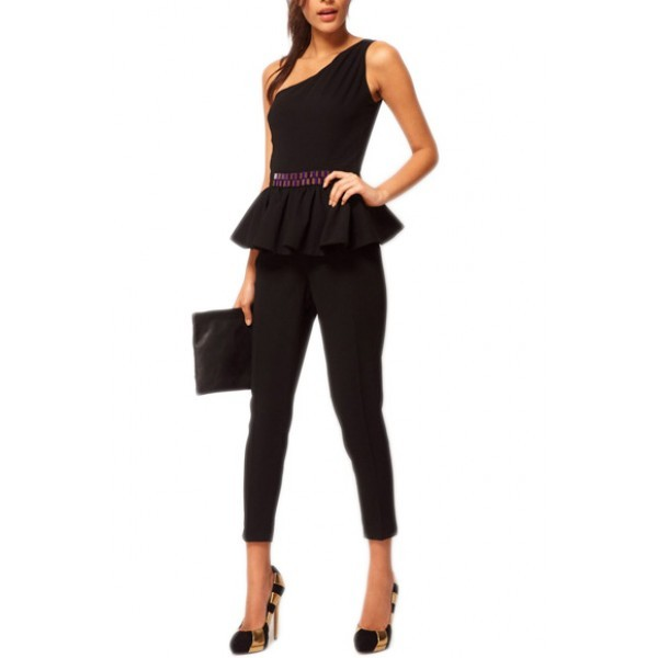 jumpsuit kcloth one shoulder with ruffle layer