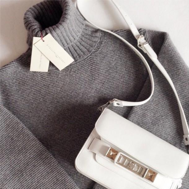 sweater grey classy bag grey sweater grey sweater