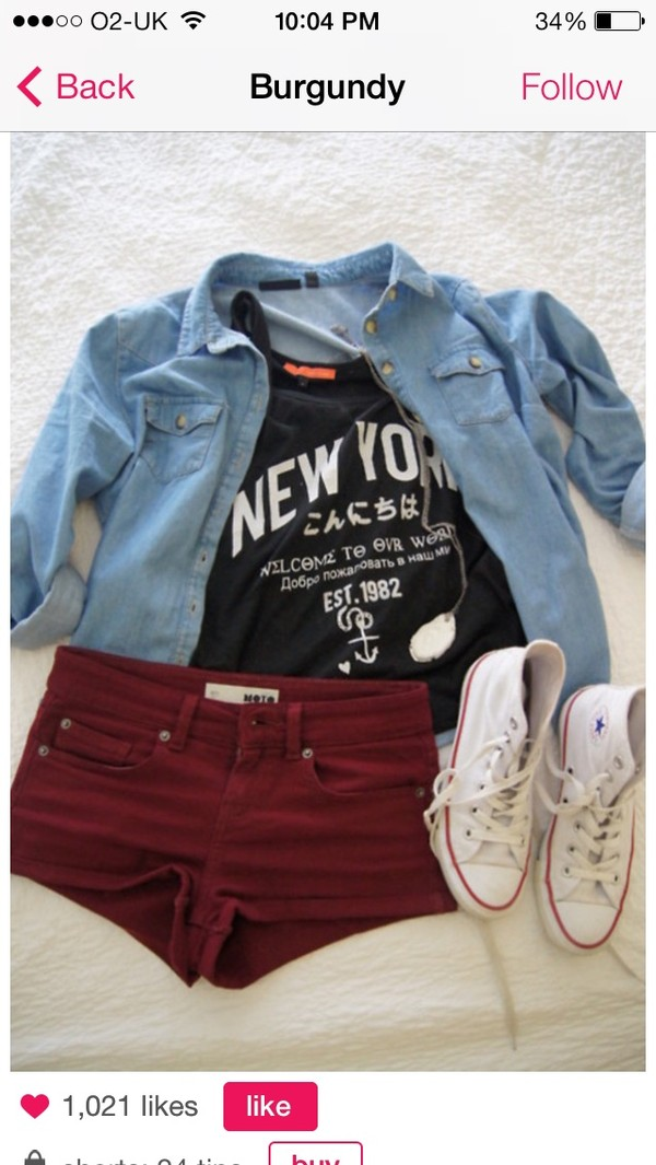 jacket denim jacket blue denim shorts shoes tank top t-shirt blouse red short allstars converse black shirt