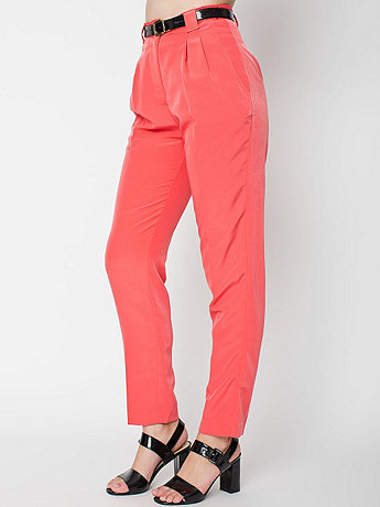 Micro-Poly High-Waist Pleated Pant   American Apparel