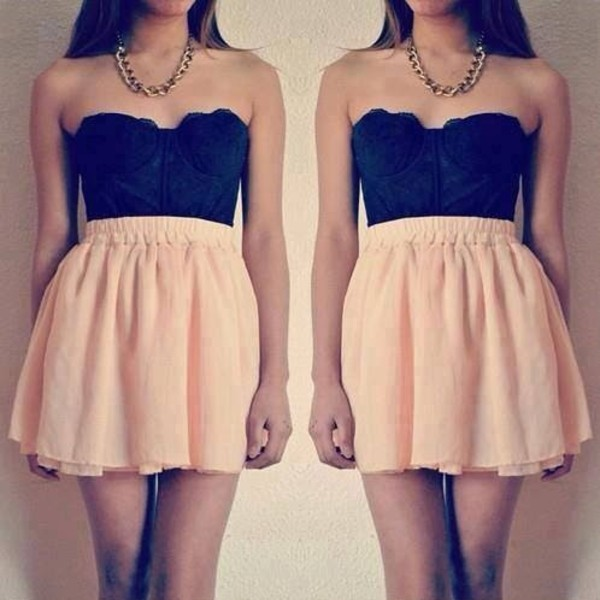 skirt pink shirt black bustier chiffon dress tank top jewels lace pretty coat necklace short skater gold beautiful top lace bustier bralette mignon jolie