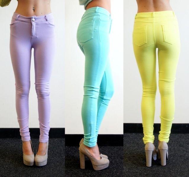 [SALE] PASTEL LILAC MINT NEON LIME SKINNY JEANS LOOK LEGGINGS PANTS 6 8 10 12   eBay