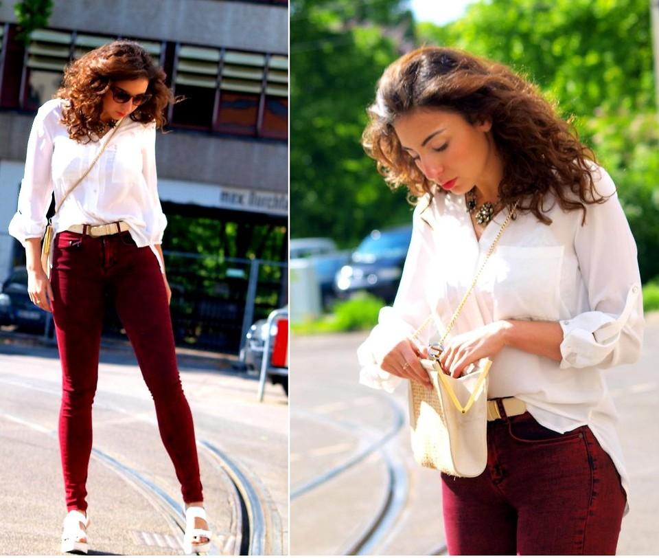 Samieze - Asos Jeans, Stradivarius Sandals, H&M Blouse, Asos Sunglasses - Red & white @ www.samieze.com | LOOKBOOK