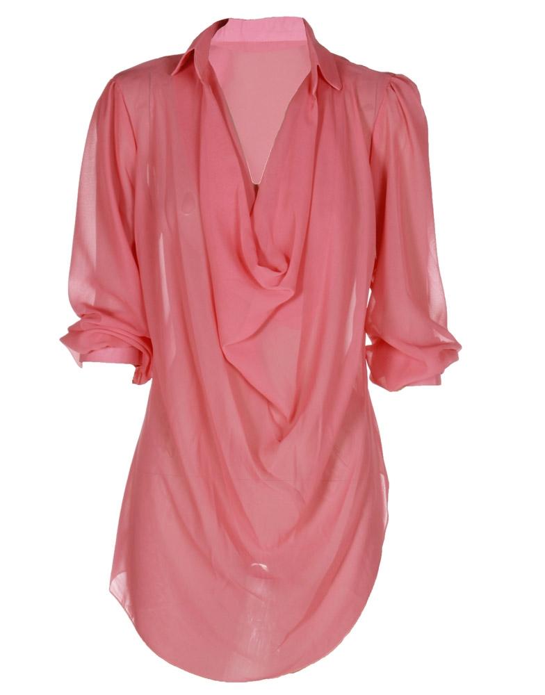 Coral Pink Plunge Neck Chiffon Layered Blouse