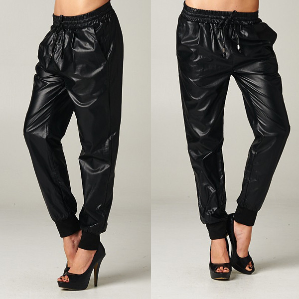 pants crawford track joggers joggers bottoms black leather faux makeup table vanity row dress to kill rock vogue