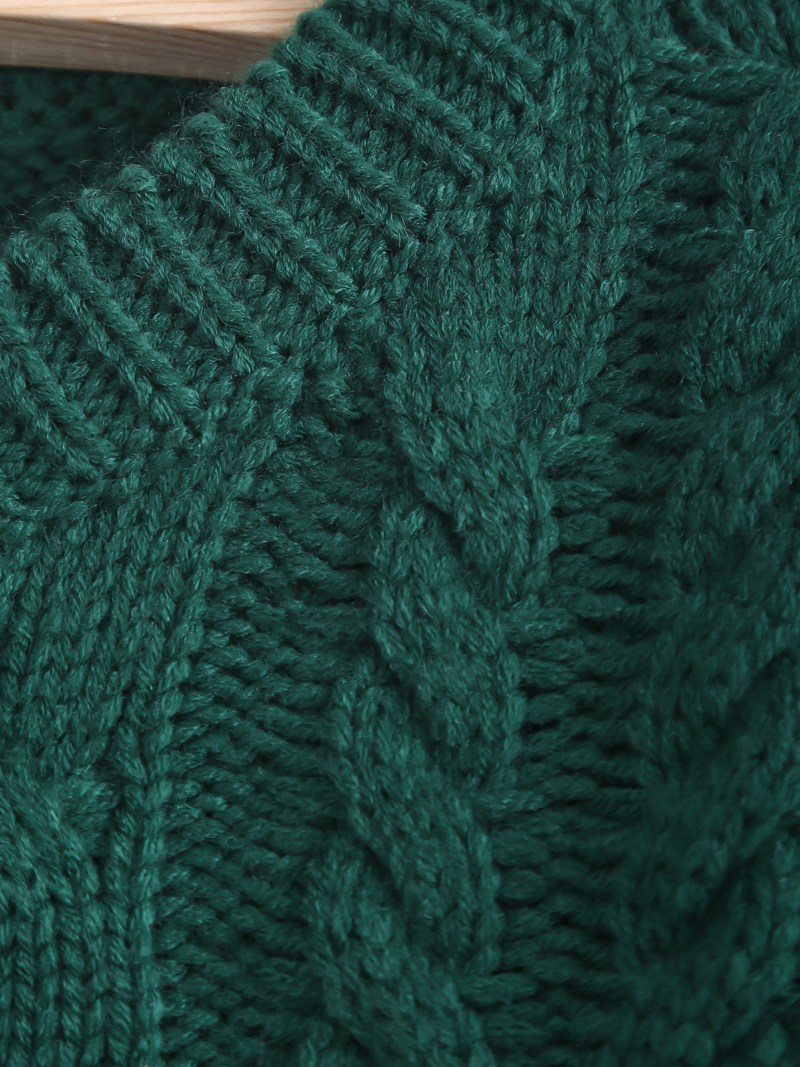 Green Long Sleeve Cable Knit Crop Sweater - Sheinside.com