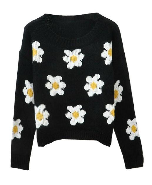 Black Sweater - Black Daisy Print Knit Sweater | UsTrendy